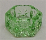 Click here to enlarge image and see more about item 69568: Hexagon Open Salt Dip Cellar Glass Depression Green