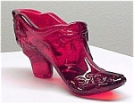 Red Art Glass Bow Shoe Slipper Victorian EAPG Pattern