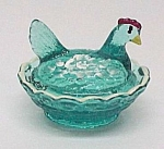 Click here to enlarge image and see more about item 69845: Hen on Nest Chick Salt Dip Cellar Blue Hand Painted Holiday Magic