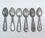 Click here to enlarge image and see more about item 69855: Set of 6 Tin Ice Cream Spoons Vintage Antique Lot