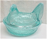 Blue Chicken Covered Art Glass Candy Dish Hen on a Nest