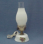 Click here to enlarge image and see more about item 71814: Vintage VIOLETS Milk Glass Electric Vanity Lamp 1950's