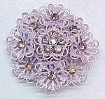 Click here to enlarge image and see more about item 72111: Pink Rhinestone Floral Brooch Pin Lavender Enameled