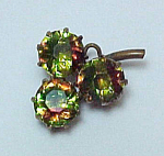 Click here to enlarge image and see more about item 72123: Vintage Watermelon Rhinestone 3 Leaf Clover Pin Pendant