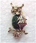 Click here to enlarge image and see more about item 72146: Gerry's Owl Pin Brooch Green Agate & Rhinestone Vintage