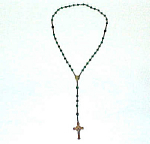 Click to view larger image of Emerald Green Faceted Glass Bead Brass Rosary Catholic (Image1)