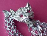 Click to view larger image of Rhinestone Cat Pin Brooch Silvertone Openwork Jewelry (Image3)