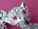 Click to view larger image of Rhinestone Cat Pin Brooch Silvertone Openwork Jewelry (Image5)