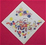 Click here to enlarge image and see more about item 72666: 1950s Fireman Fire Truck Paper Birthday Party Napkin