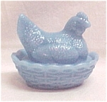 Hen on a Nest Delphite Blue Milk Glass 3 inch Ring Dish