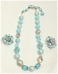 Aurora Borealis Aqua Beaded Choker Necklace & Earrings