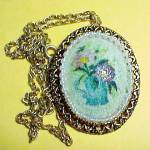 Pastel Floral Pendant Necklace Pin Brooch Goldtone