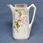 China Chocolate Pot Pitcher Vase Pink and White Roses