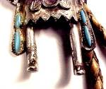 Click to view larger image of Vintage Sancrest Kachina Indian Bolo Tie Turquoise Silver (Image7)