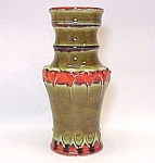 Click here to enlarge image and see more about item 73725: Large 12in Art Pottery Vase Regal Royal Crown Orange/Gr
