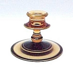 Click here to enlarge image and see more about item 74182: Fostoria #2324 Amber Round Candlestick w Black & Gold