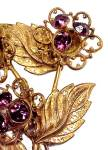 Click to view larger image of Large Floral Brooch Upright Amethyst Rhinestone Pistils (Image2)