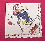 Click here to enlarge image and see more about item 74588: Bozo Circus Clown Party Napkin Vintage 1950s 1960s