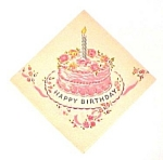Click here to enlarge image and see more about item 74589: 1950s Happy Birthday Cake Paper Party Napkin Ephemera Memoribilia