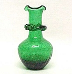 Click here to enlarge image and see more about item 75044: Green Crackle Glass 5 inch Vase w/ Applied Rigaree