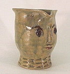Man Face Mug Cup Jug Vintage Hand Made Folk Art Pottery