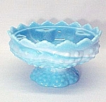 Fenton Art Glass Blue White Hobnail Candle Bowl Holder.