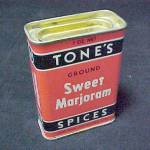 Click here to enlarge image and see more about item 75633: Tones Sweet Majoram Spice Advertising Tin Vintage
