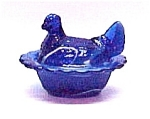 Click here to enlarge image and see more about item 75849: Hen on a Nest Blue Slag Art Glass Chicken Salt Dish New