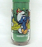Click here to enlarge image and see more about item 76549: 1983 HARMONY SMURF Drinking Glass Tumbler Hardee's PEYO