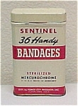 Click here to enlarge image and see more about item 76557: Sentinel Bandaid Bandages Tin Drug Store Pharmacy