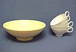 Boonton Ware Yellow 9 in Vegetable Bowl  4 White Cups