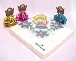 Click here to enlarge image and see more about item 76804: Lot of Angel Christmas Ornaments & Hallmark Napkins Vtg