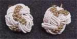 Click here to enlarge image and see more about item 76816: Vintage Pink & Goldtone Twist Knot Screw Earrings