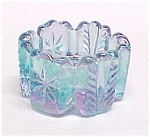 Click here to enlarge image and see more about item 77670: Light Blue Carnival Glass V Open Salt Dip Cellar Dish
