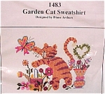 Click here to enlarge image and see more about item 78323: Garden Cat Sweatshirt Cross Stitch Stitchery Kit New