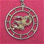Click here to enlarge image and see more about item 79273: Celebrity NY Scorpio Zodiac Sign Circle Pendant 30 in Chain