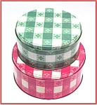 Click here to enlarge image and see more about item 79689: Red White Green Gingham Tins Cookie Can Jar Tablecloth
