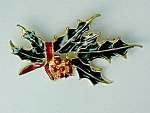 Click here to enlarge image and see more about item 79908: Holly Leaves & Berry Christmas Brooch Pin Enameled