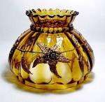 Click here to enlarge image and see more about item 79958: Floral Amber Glass 7in Kerosene Oil Lamp Shade Vintage