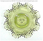 Click here to enlarge image and see more about item 81769: Fenton Roses Avocado Green Glass Ruffled 10 inch Bowl