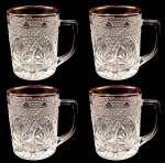 Click here to enlarge image and see more about item 81808: Lumincarc Arcoroc Mugs Antique Pattern w Gold Set of 4