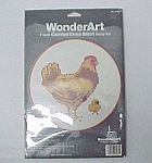Click here to enlarge image and see more about item 81895: WonderArt Hen & Chick Counted Cross Stitch Kit Chicken