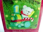 Click here to enlarge image and see more about item 81911: 2000 Hallmark Christmas Tree Ornament Babys First 1st Bear on Train