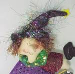 Click here to enlarge image and see more about item 82264: Spooky Hollow 10in Flying Sparkle Witch Broom Halloween