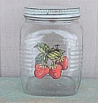 Click here to enlarge image and see more about item 82306: 1940s Square Coffee Jar 3 lb Strawberries Strawberry Canister Storage