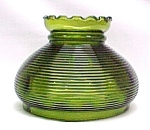 Click here to enlarge image and see more about item 82317: Green Glass Hurricane Lamp Shade Globe Horizontal Ribs