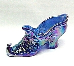 Click here to enlarge image and see more about item 82516: Carnival Glass Rose Slipper Shoe Iridescent Cobalt Blue