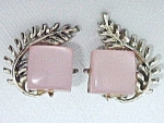 Click to view larger image of Vintage Pink Moonglow Lucite Thermoset Clip Earrings (Image1)