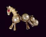 Click here to enlarge image and see more about item 83271: Vintage Horse Pin Brooch Faux Pearl Rhinestone Goldtone
