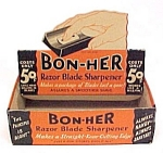 Click here to enlarge image and see more about item 83346: Bon-Her Razor Blade Sharpener EMPTY Store Display Box